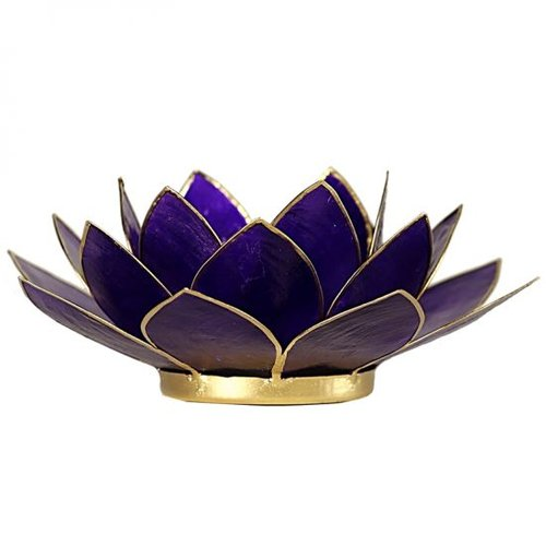 Candle holder open lotusflower violet