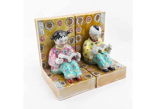Fine Asianliving Chinese Kinderen Boekensteun Porselein Set/2