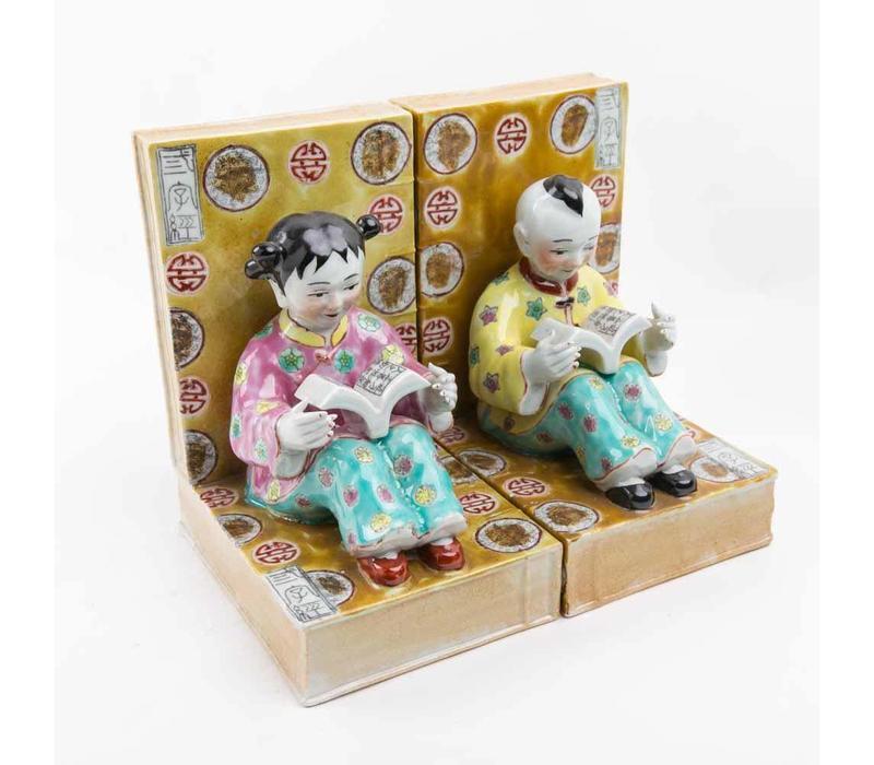 Chinese Kinderen Boekensteun Porselein Set/2