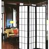Fine Asianliving Japans Kamerscherm Shoji Rijstpapier 3 Panelen - Zwart