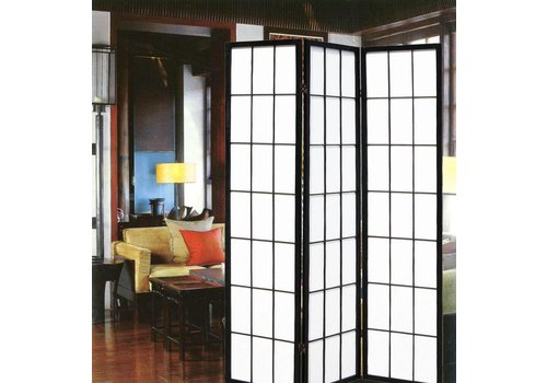 Fine Asianliving Japanese Room Divider Shoji Rice-paper 3 Panel - Black