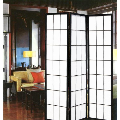 Japanese Room Divider Shoji Rice-paper 3 Panel - Black