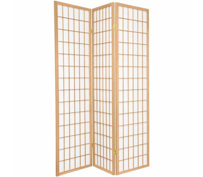 Japans Kamerscherm Shoji Rijstpapier Natural 3 Panelen