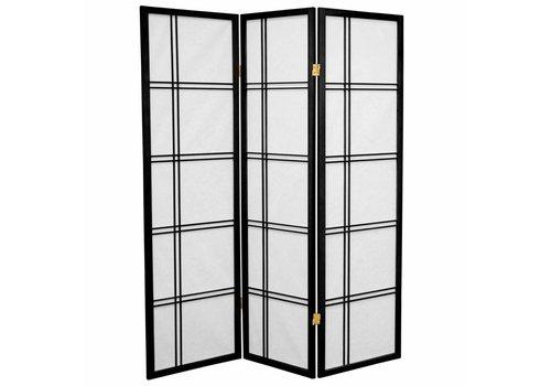 Fine Asianliving Japans Kamerscherm Shoji Dubbelkruis Rijstpapier 3 Panelen - Zwart