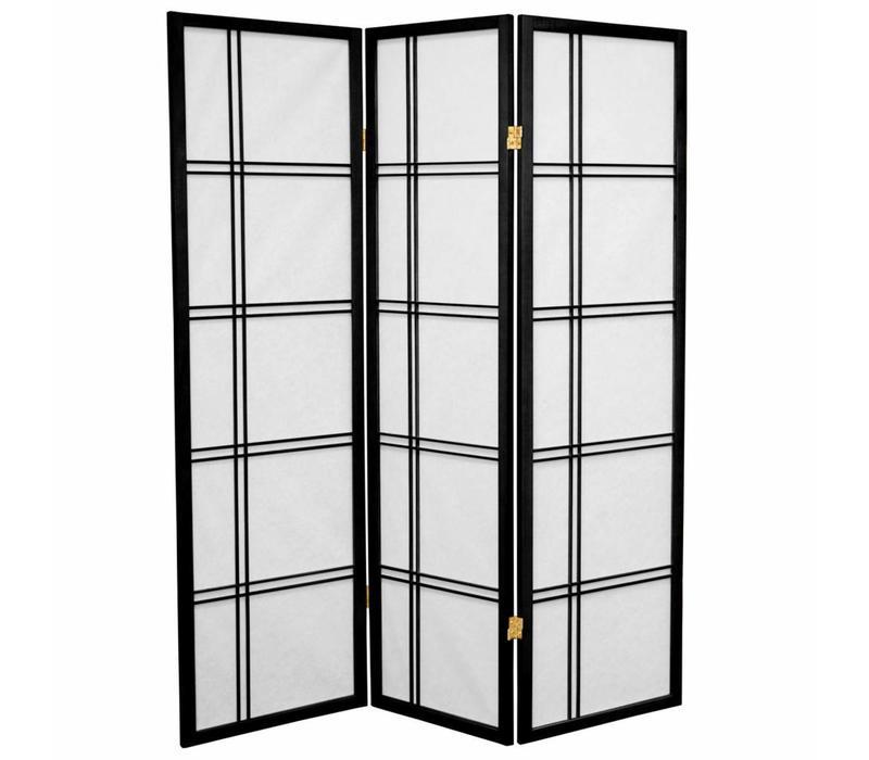 Japans Kamerscherm Shoji Dubbelkruis Rijstpapier 3 Panelen - Zwart