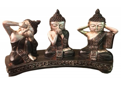 Fine Asianliving Buddha Hear, See and Silence - Silver Black