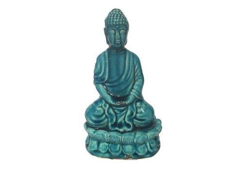 Fine Asianliving Thaise  Boeddha zittend  porselein Turquoise