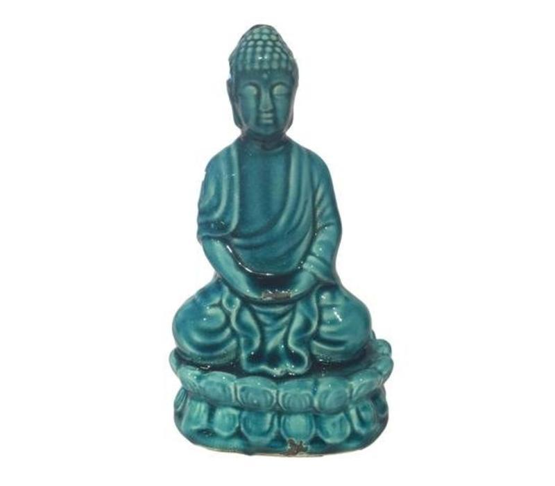 Thaise  Boeddha zittend  porselein Turquoise