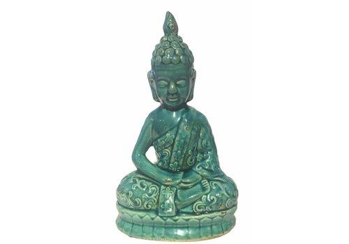 Fine Asianliving Blauwe Thaise Boeddha Porselein