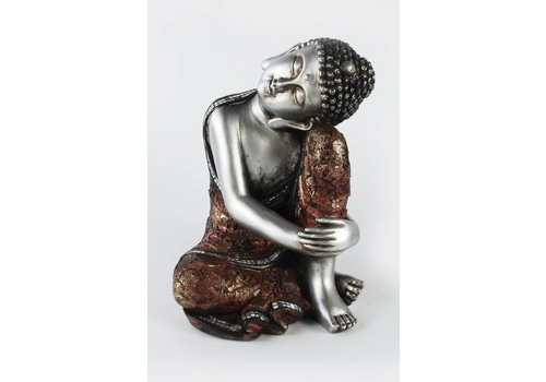 Fine Asianliving Thai sleeping Buddha on knee polystone