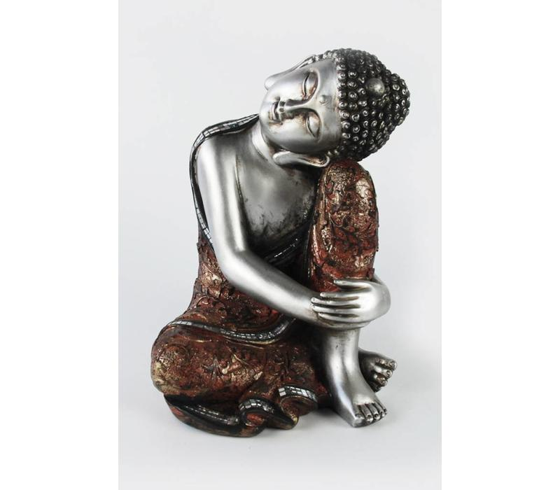 Thai sleeping Buddha on knee polystone