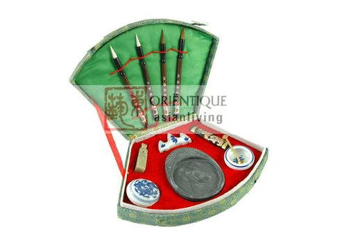 Fine Asianliving Fine Asianliving Chinese Calligraphy Brush Set 11pcs Luxurious Giftbox