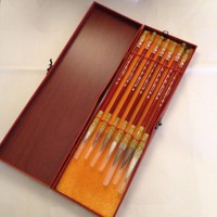 Fine Asianliving Chinese Calligraphy Brushes Set/7 Luxurious Wooden Giftbox