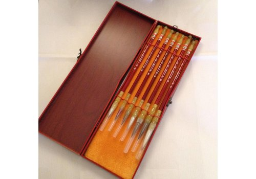 Fine Asianliving Chinese Calligraphy Set Brushes 7 in Wooden Box