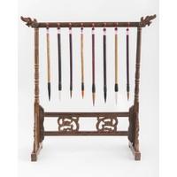 Chinese Kalligrafie Penselen Rek Hout Handgesneden