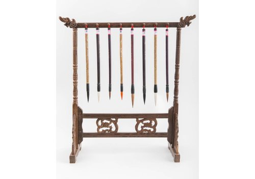 Fine Asianliving Calligraphy Brushes Rack Wood Handcarved