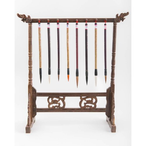 Calligraphy Brushes Rack Wood Handcarved