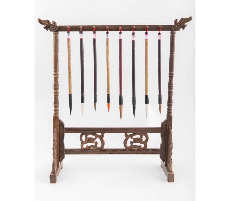 Calligraphy Brushes Rack Wood Hand-carved
