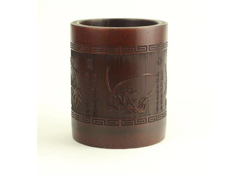 Fine Asianliving Chinese Calligraphy Brushes Holder Bamboo