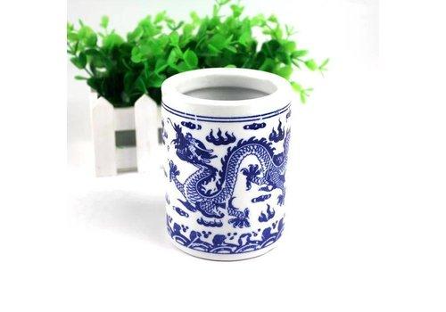 Fine Asianliving Chinese Kalligrafie Penselen Houder Blauw-wit Porselein