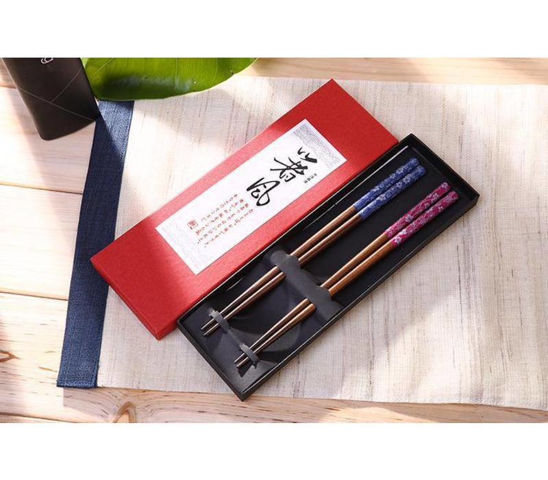 Giftbox Luxe Houten Chopsticks Eetstokjes 2 Paar Blauw en Roze
