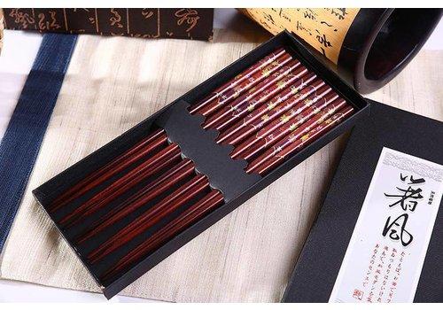 Fine Asianliving Giftbox Luxe Houten Chopsticks Eetstokjes 5 Paar Bladeren