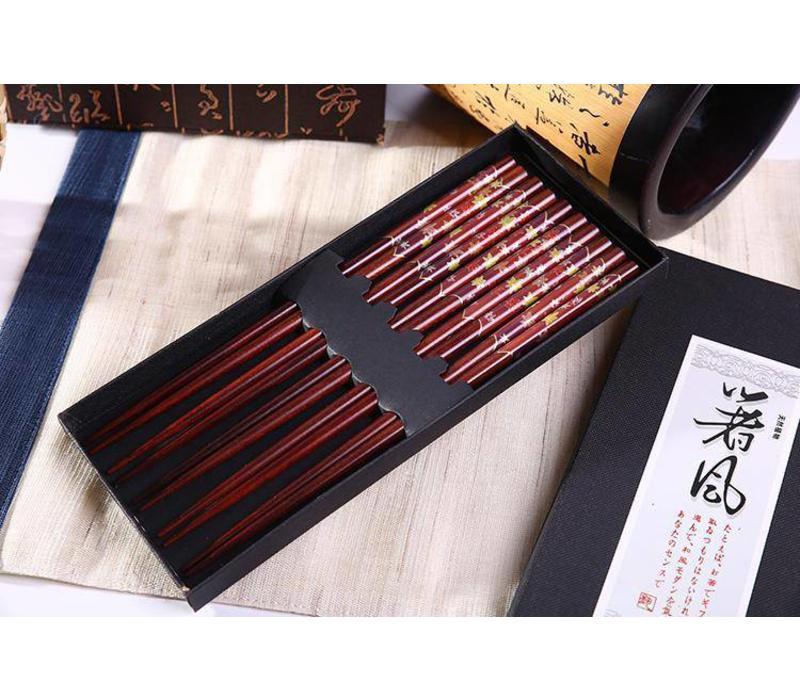 Giftbox Luxe Houten Chopsticks Eetstokjes 5 Paar Bladeren