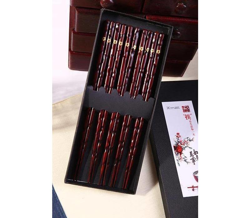 Giftbox Luxury Wooden Chopsticks 5 Pairs of Gold Flower