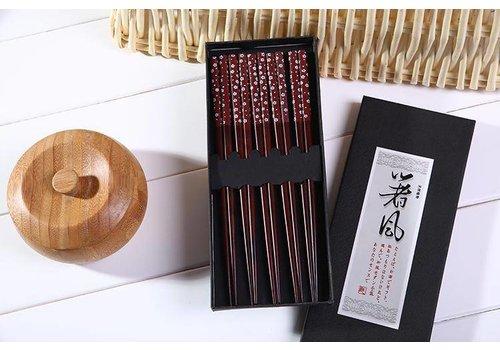 Fine Asianliving Fine Asianliving Japanse Eetstokjes Chopsticks Set/5 Giftset Bruin Sakura