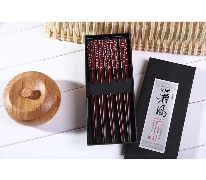 Fine Asianliving Japanse Eetstokjes Chopsticks Set/5 Giftset Bruin Sakura