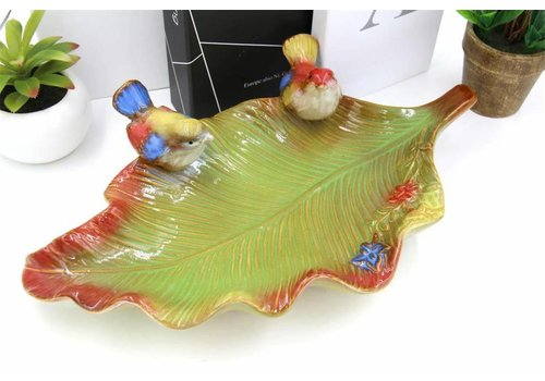Fine Asianliving Multicolor Schaal in Bladvorm met Vogeltjes Aardewerk