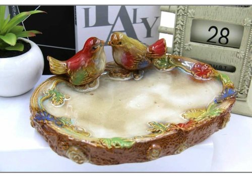 Fine Asianliving Multicolor Bowl White Birds on Tree Trunk Pottery