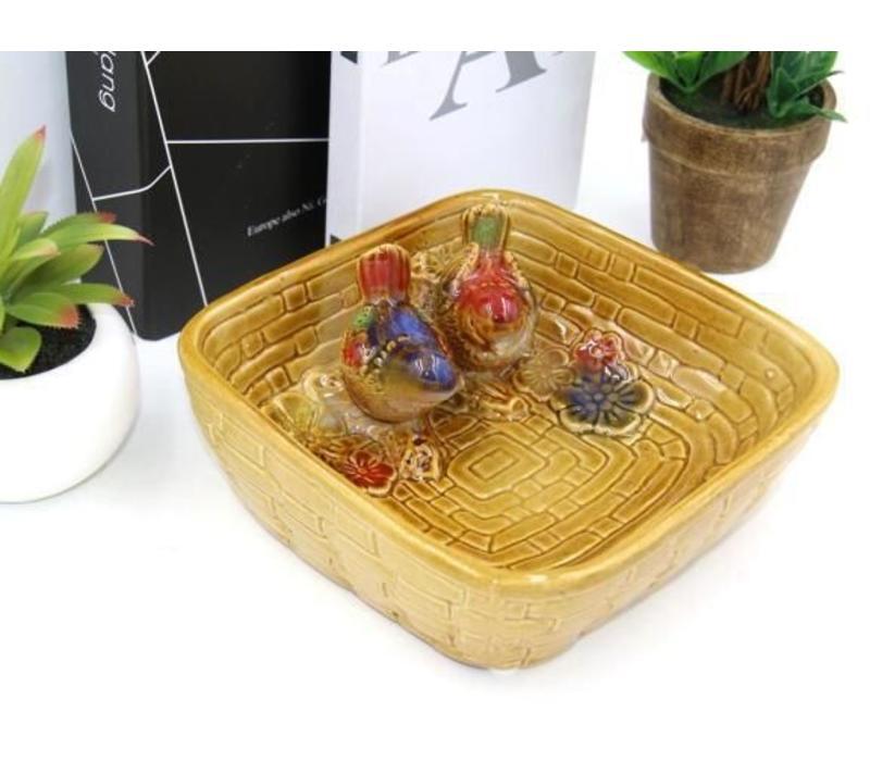 Multicolor Bowl Baking tin White little birds Pottery