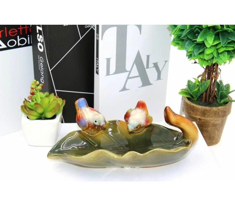 Multicolor Bowl Drinking Leaf White Little Birds Pottery