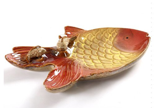Fine Asianliving Goldfish dish with fish pottery