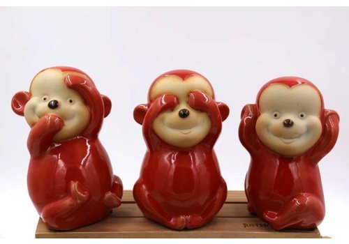 Fine Asianliving Set Monkeys Hear See and speak no evil Red Pottery