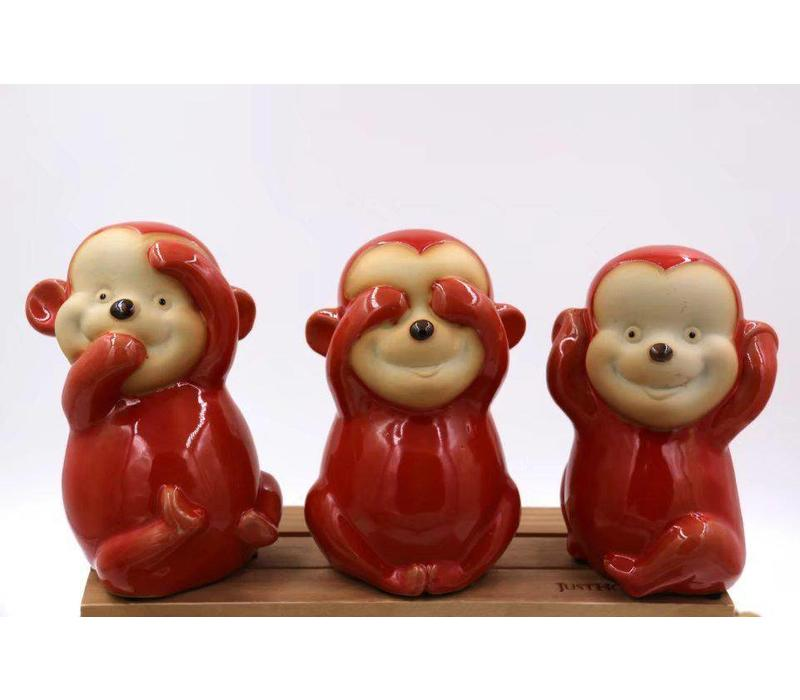 Set Monkeys Hear See and speak no evil Red Pottery