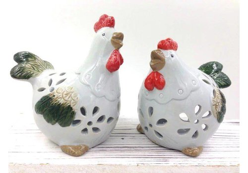 Fine Asianliving Set of Two Roosters White Pottery