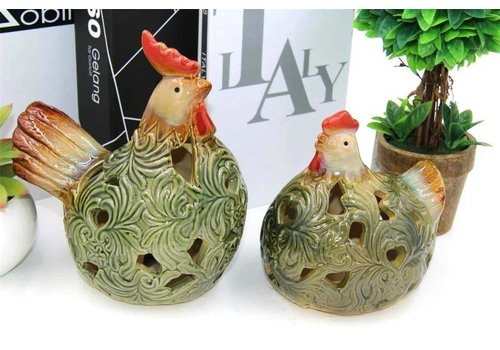 Fine Asianliving Set of Two Roosters Green Pottery