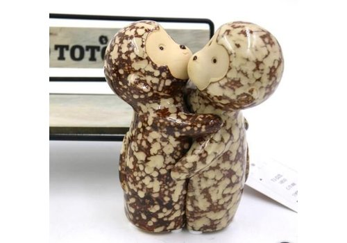 Fine Asianliving Set of Two Cuddling Monkeys Brown Pottery