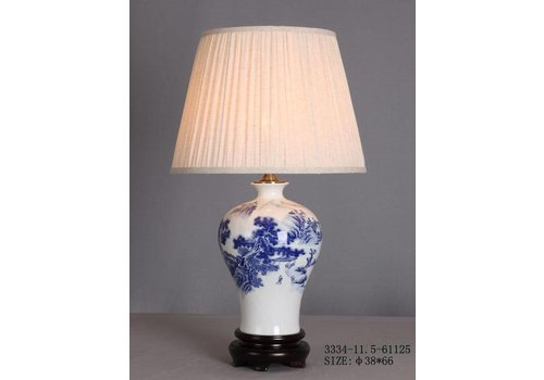 Fine Asianliving Chinese Table Lamp Porcelain White Blue Landscape