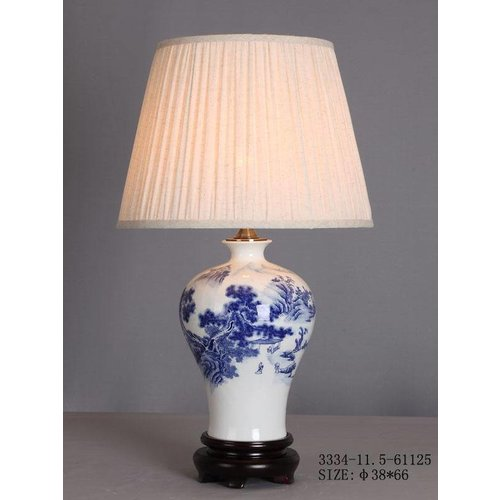 Chinese Table Lamp Porcelain White Blue Landscape