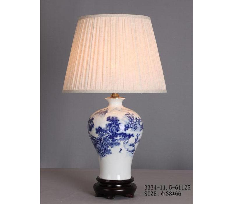 Lampe de table chinoise en porcelaine blanc bleu paysage