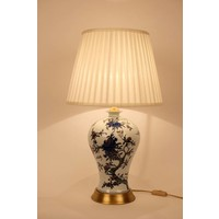Chinese Table Lamp Porcelain White White Blue Flower Branches