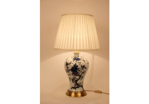Fine Asianliving Chinese Table Lamp Porcelain White White Blue Flower Branches