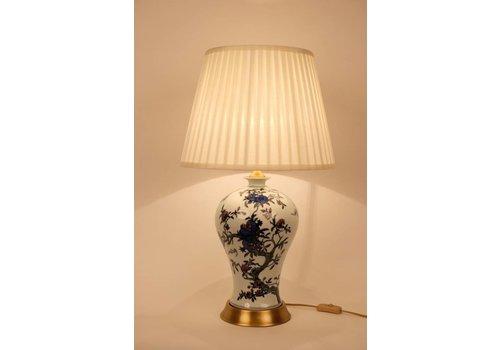 Fine Asianliving Lampe De Table Chinoise Porcelaine Blanc Blanc Bleu Branches De Fleurs