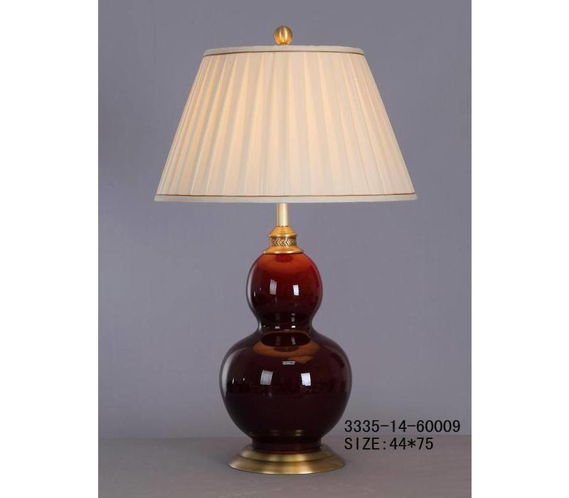 Oosterse Tafellamp Porselein Bordeaux Rood