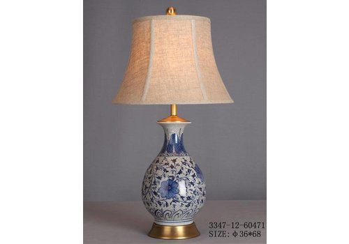 Fine Asianliving Chinese Tafellamp Porselein Wit met Blauwe Bloemen