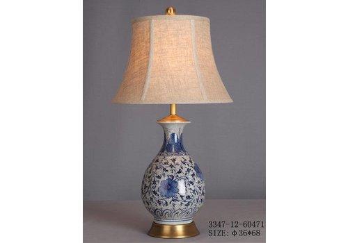 Fine Asianliving Oosterse Tafellamp Porselein Wit met Blauwe Bloemen