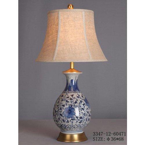 Fine Asianliving Oriental Porcelain Table Lamp White White Blue Flowers